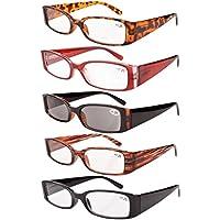 25ce7d43b58 Eyekepper Spring Hinge Plastic Reading Glasses (5 Pack Mix) Includes Sunglass  Readers Women +