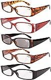 Eyekepper resorte de la bisagra de plástico gafas de lectura (Paquete de 5 Mix) Incluye Sunglass Lectores Mujeres +3.5