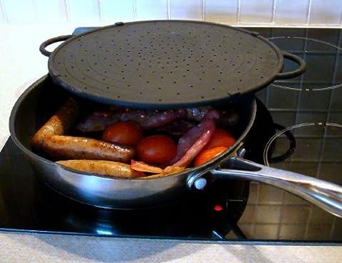 CleanZone- Couvercle anti projection / Plaque de cuisson - Noir - 30cm de diamètre - (Robusto Silicone)
