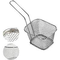 Iraza Mini Cesta Cromadas para Patatas Fritas Diseño Cuadrado, Ideal para Servir Alimentos fritos (1PCS)