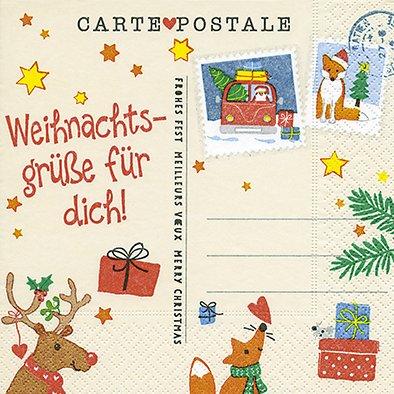 20 Servietten 33 x 33 cm Weihnachten Weihnachtsgrüße Geschenke Rentier Post