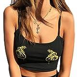 OVERDOSE Damen Dragon Drucken Weste Fashion Camisole Baumwolle Sommer ärmelloses Tops T-Shirt Strand Bluse(A-Black 2,EU-34/CN-S)