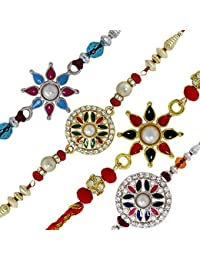 Mahi Crystals and Beads Assorted Combo of 4 Rakhis for Men (Bracelet, CO1104517M, Pink and Blue)