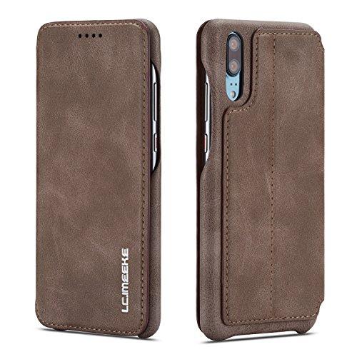 QLTYPRI Huawei P20 pro Hülle, Premium PU Leder Handyhülle Ultra Dünne Ledertasche Magnetverschluss Standfunktion & Kartensfach Wallet Case Flip Schutzhülle für Huawei P20 pro - Braun
