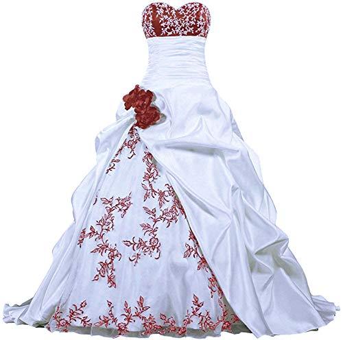Zorayi Damen Elegante Kapelle Zug Prinzessin Ballkleid Brautkleid Hochzeitskleider Weiß & Burgund Größe 42
