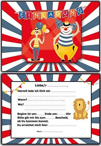 Einladungskarten Kindergeburtstag Zirkus Clown - 10 Stück im Set Jungen Mädchen ausgefallen lustig Kinder Einladung Geburtstagseinladung Löwe Circus bunt Kostümparty (Zirkus-party-einladungen)