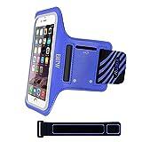 EOTW Fascia da Braccio Sportiva Portacellulare per Cellulare iPhone Samsung LG Sony con Cinturino Regolabile & Portatessere Corsa Jogging Ciclismo Running Esercizio(Blu 5,5 Pollici)