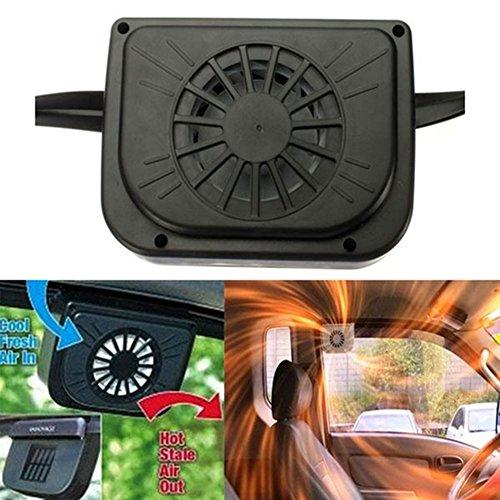 GEZICHTA Solar Auto Cool Fan, Solar Sun Power Auto Air Vent Kühles Kühler Lüfter Fan Ventilation System Heizkörper, Fit für Auto Fenster Schwarz - Kühl-system