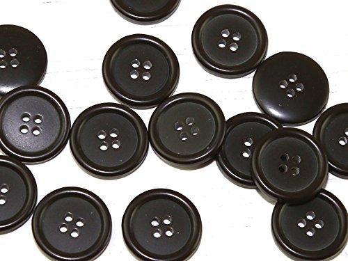 Dill Kunststoffknöpfe mit rundem Rand, 4 Löcher, Braun