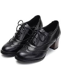ODEMA Zapatos Oxford De Tacón Tacón Encaje Grueso Perforado