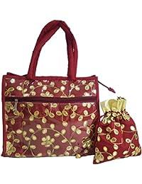 Nirmitee Designer Wedding Handbag And Potli Set Cherry Red Colour With Stone Work