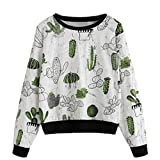 DRESS_start Damen Winter Warm über Kaktus Print Ringer Sweatshirt gedruckt T-Shirt Damen Bluse weiß Tops (S)