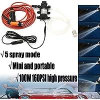 NO LOGO PXOU 12V 100W portátil de Alta presión 160PSI Filtrar Coche eléctrico Lavadora automática Set de Lavado de la Bomba 1.2M tubería de PVC con Agua for Limpiar Coches