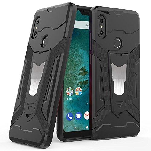 Ferilinso Hülle für Xiaomi Mi A2 Lite,Hybrid Rüstung Defender Ganzkörperschutz Heavy Duty Hard Bumper Case mit Kickstand & Unterstützung Magnetische Car Mount Funktion (Schwarz)