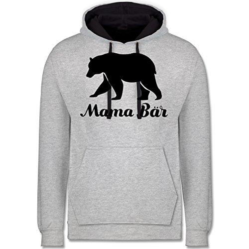 Shirtracer Muttertag - Mama Bär - M - Grau meliert/Navy Blau - JH003 - Kontrast Hoodie