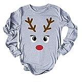 Andouy Damen Weihnachten Hemd Lustig Grafik Drucken Oberteile Lose O-Hals Pullover Sweatershirt(S.Grau)