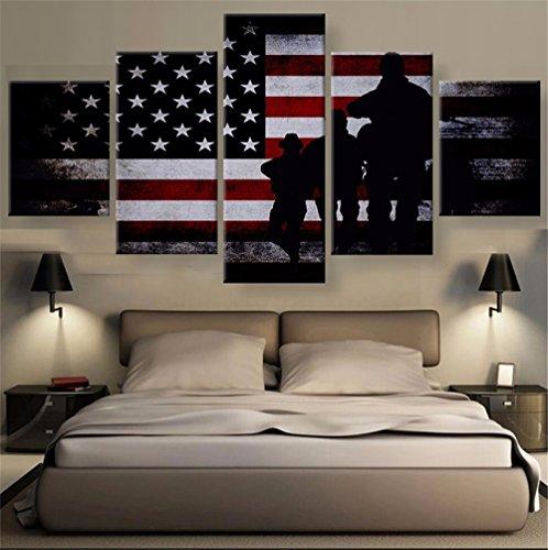 XDXART 5Pcs Home Decor Bilder Bedruckte Leinwand Malerei, Decor-US American Flag Art Wand Öl Gemälde Bedruckt Bilder (Ohne Holzrahmen) 12x16x2p+12x24x2p+12X32inch (Flag-bild American)