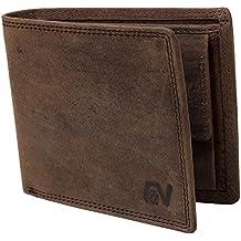Fa.Volmer ® Schlanke Büffelleder-Geldbörse besonders bequem einfach und stabil Usedlook Vintage Portemonnaie Geldbeutel #Easycomfort (Iron)