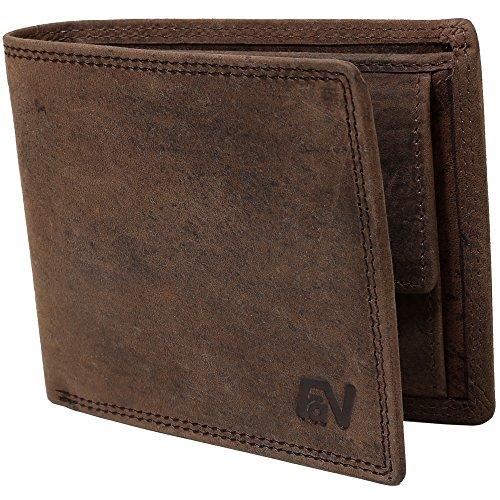 Schlanke Büffelleder-Geldbörse besonders bequem einfach und stabil Usedlook Vintage #Easycomfort (Iron)