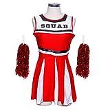Sexy Robe Debardeur Uniforme Pompom Girl Cheerleader Noir rouge noir blanc sans manche M L nouveauté