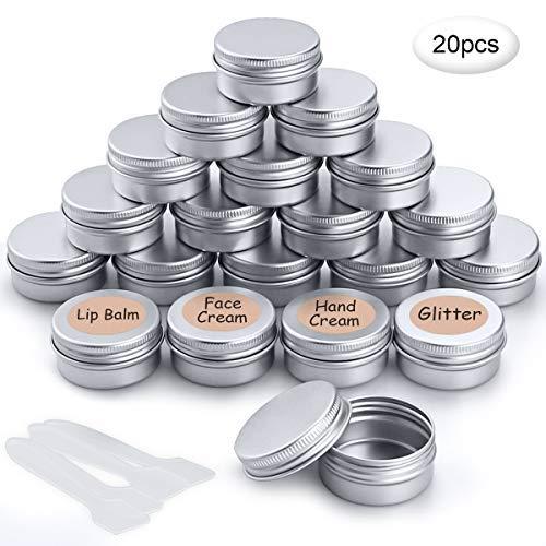 20 Pezzi Vasetti Alluminio Barattoli Metallo Vasetto Vuoto Contenitori Cosmetici con copri di Vite e etichette e Mini Spatola per Crema Campione