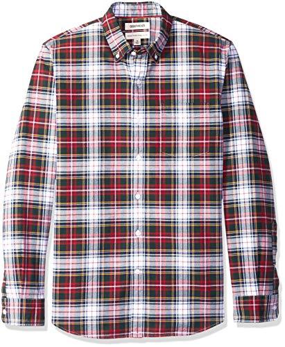 Oxford-hemd Mit Karomuster (Goodthreads Herren Regular-Fit Oxford-Hemd aus Popeline mit Karomuster, Blau (red navy white tartan), Large)