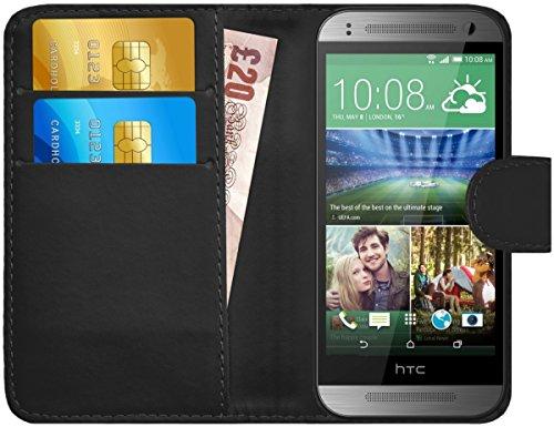 HTC One Mini 2 Hülle Leder Klapphülle mit Kartenfach GizzmoHeaven Schutzhülle Tasche Flip Case Cover Etui Handyhülle für HTC One Mini 2 mit Displayschutzfolie und Stylus-Stift - Schwarz