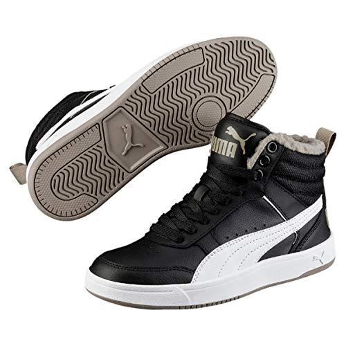 Puma Unisex-Kinder Rebound Street V2 FUR JR Hohe Sneaker, Schwarz Black White-Elephant Skin 04, 38 ()