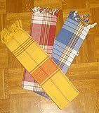 Pestemal 3er SET 3x Hamamtuch blau + rot + gelb kariert Sauna Saunatuch 80 x 160 cm
