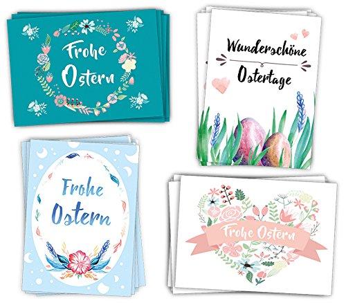 20er Postkarten Set OSTERN mit 4 tollen Ostermotiven // UV-Hochglanzbeschichtung und 350g Bilderdruck für höchste Qualität // Ideal zum Aufhängen, Verschicken - Set 1
