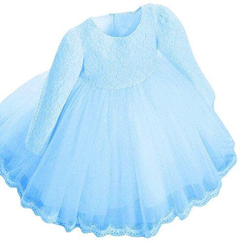 Kleider Kinderbekleidung Honestyi Kinder Baby Mädchen Lange Hülsen Prinzessin Spitze Blumen Festzug Hochzeitsfest Kleider (Blau,80 90 100 110 120 130)