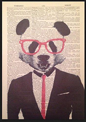 Panda Vintage Wörterbuch Seite Print Art Wand Bild Hipster Quirky Animal Geek