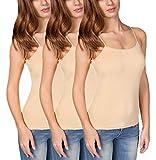 VEDATS 3er-Pack Damen Unterhemd Spaghettiträger Shirt Body Ärmellos (S, Hautfarben)