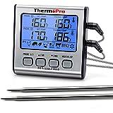 ThermoPro TP17 Termómetro Cocina Digital de Doble Sonda con Modo Temporizador Termómetros de Barbacoa con Grande Retroilumina
