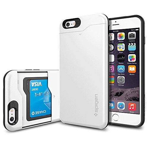 "Spigen Coque iPhone 6 Plus (5,5"") [Porte-Cartes] Coque portefeuille pour iPhone 6 Plus (5,5"") [Slim Armor CS] [Shimmery White] Coque double couche en TPU et Polycarbonate avec porte-cartes pour iPhone Shimmery White"