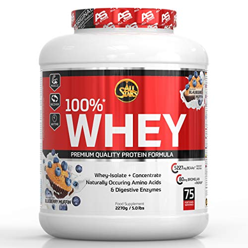 All Stars 100{751114e6ea90cf4672cbc8f9d481cd651328cb201142b7a6320ec6e20279ea96} Whey Protein, Blueberry Muffin, 1er Pack (1 x 2270 g)