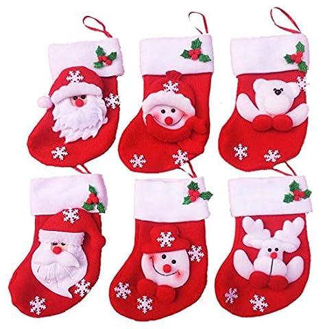 Kolylong Lovely 6pcs Christmas tree Decor Mini Christmas Socks Decorations Stocking Bag
