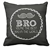 TYYC New Year Gifts For Brother, Moustache Bro Printed Cushion Covers for Brother - 12x12 inches
