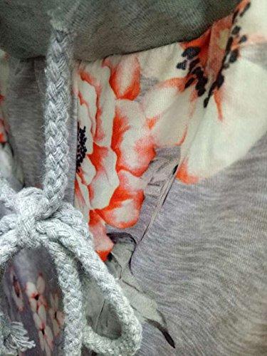 Kinikiss Damen Elegant Hose High Waist Geblümt Locker Weites Bein Yoga Lange Hosen Grau