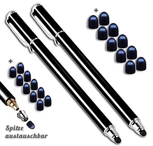 2x Premium Touchstift schwarz mit 20 x Ersatzspitzen Eingabestift Stylus Touch Pen (Pen Laptop Tablet)