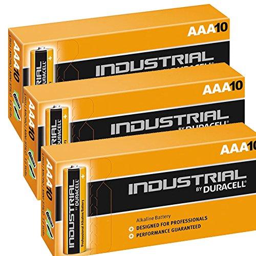 DURACELL 30x Stück Procell Industrial AAA MN2400Alkaline Batterien LR04Akku Ersatz Procell 9v-batterie