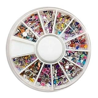 Hotaluyt 3D Nail Art Tips Mixed Color Gems Crystal Glitter Rhinestone DIY Nail Decoration Kit With Box