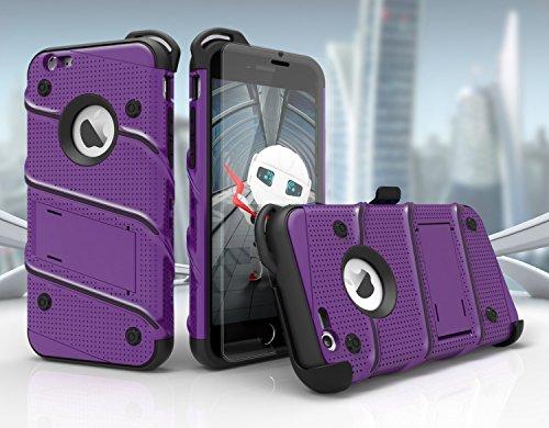 iPhone 6/6S 4.7en étui, Zizo Pièces avec housse [.33m Film de protection d'écran en verre trempé 9H] [inclus] Armor Coque de qualité militaire avec support clip Violet/noir