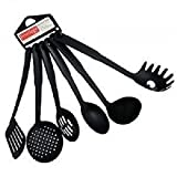 #7: BEST DEALS - Kitchen Tool Set - Ladle, Slotted Spoon, Slotted Turner, Spaghetti Server, Flexible Turner, Solid Spoon - Non Stick - Non Scratch - Heat Resistant - Nylon Cooking Utensils Set of 6 Piece