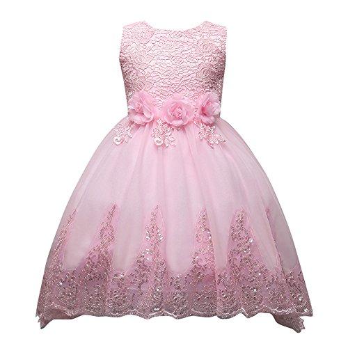 - Prinzessin 3D Blume Tüll Kleid Armellos Hochzeit Festlich Partykleid Kleider für Kleinkinder Kinder Rosa 3-12 Jahre (Kinder Rosa Kleid)