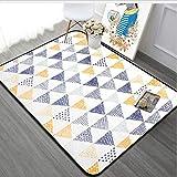 HJYL Teppich Nordischen Stil Gelb Und Blau Geometrische Wohnzimmer Kinder Schlafzimmer Rechteck Kinder Spielen Bodenmatte 160X230 cm