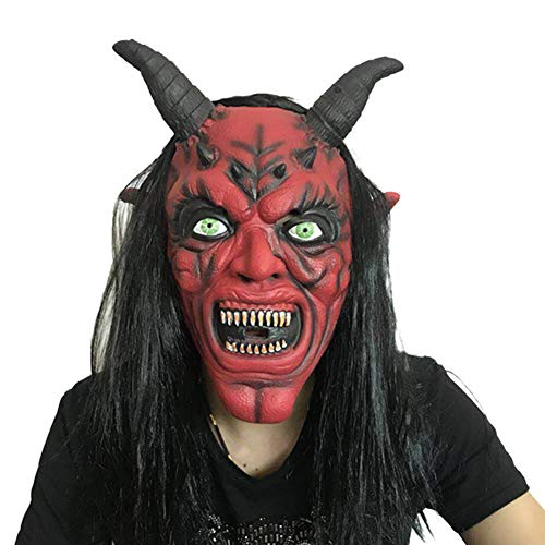 JIAAE Halloween Kuh Teufel Maske Horror Red Face Horn Masken Prom Leistung Latex Pullover