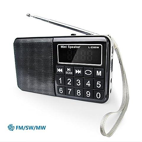 PRUNUS™ Portables Radio FM/SW/MW/MP3 mit Neodym Lautsprechern – Große gummierte Knöpfe – großes Display – Automatische Sendereinrichtung- Unterstützung für Flash Drive/ Micro SD Card / TF Card (8GB, 16GB, 32GB, 64GB) für das Abspielen von MP3 Dateien
