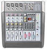 Skytec STL6A Studio-Mixer 6-Kanal-PA-Mischpult (600W, 2x 300W Verstärker, XLR, MP3-fähiger USB-Slot und SD-Kartenslot, 48V Phantomspannung) schwarz