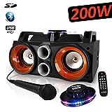 Tragbarer Lautsprecher Karaoke Party Sound Box – Akku – USB/Bluetooth/FM + Mikrofon – 200 W – PARTY-SPEAKY200 + UFO Ovni